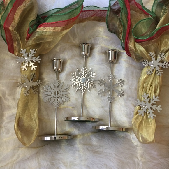 3 Candlesticks & 4 napkin rings winter/holiday set